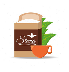 Stevia natural sweetener packet and leaves vector