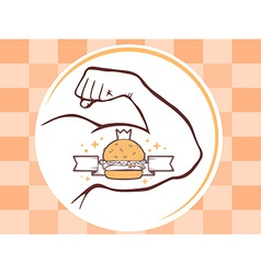 Strong man hand with big burger icon on b vector