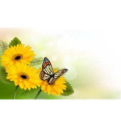 Summer background with yellow beautiful flowers vector image vector image