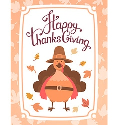 Thanksgiving with orange turkey bird in brow vector