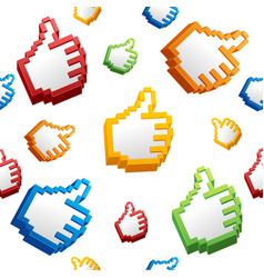 thumbs up sign computer cursor pattern background vector image vector image