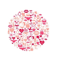 Valentines day mosaic icons vector
