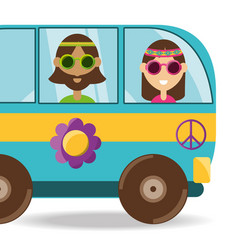 Van with flower and hippie people concept vector