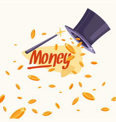 with coins cylinder and a magic wand vector image