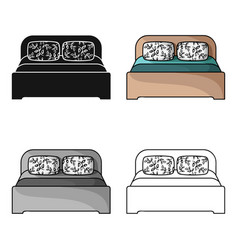 wooden double bed icon in cartoon style isolated vector image vector image
