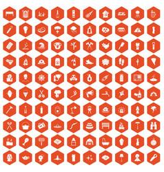 100 fire icons hexagon orange vector