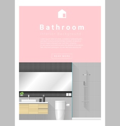 Interior design modern bathroom banner 1 vector