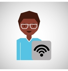 Woman afro internet connection icon vector