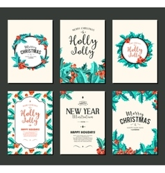 Holly jolly - christmas banners set art vector