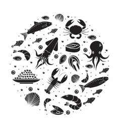 Seafood icons set in round shape black silhouette vector