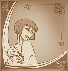 Tender sepia roaring 20-s girl background vector
