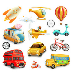 Funny cartoon transportation cars and airplanes vector