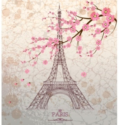 Vintage of Eiffel tower on grunge background vector image