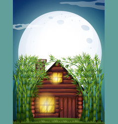 scene with wooden hut at night vector image