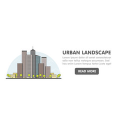 Line art of modern big city background with vector