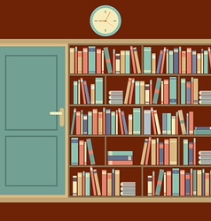 Bookcase in reading room vector