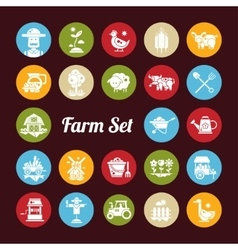 Set of farm agriculture flat design icons and vector