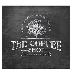 Vintage coffee shop typographic element on chalkbo vector