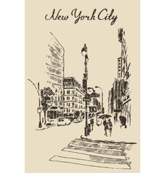 Street new york city engraved vector