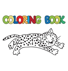 Coloring book of little cheetah or jaguar vector
