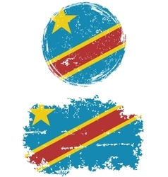 Congolese round and square grunge flags vector
