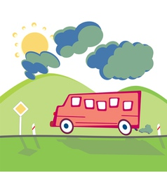 Bus on the mountain road vector