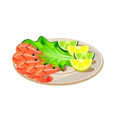 Shrimps with salad and lemon on a plate vector
