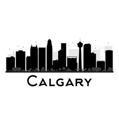 Calgary city skyline black and white silhouette vector