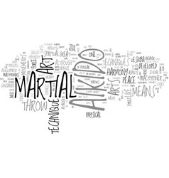 Aikido arts martial text word cloud concept vector