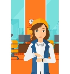 Angry boss pointing at wrist watch vector image
