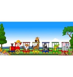Animal train cartoon vector image vector image