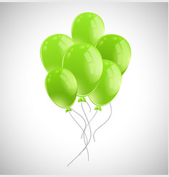 bunch of green balloons on white background vector image