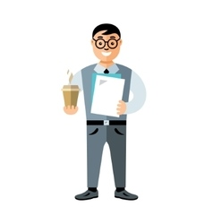 Business man with coffee Flat style vector image