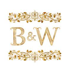 Bw vintage initials logo symbol letters b vector