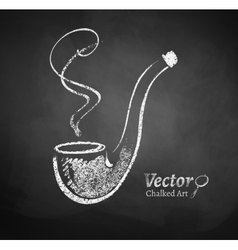 Chalkboard drawing of smoking pipe vector