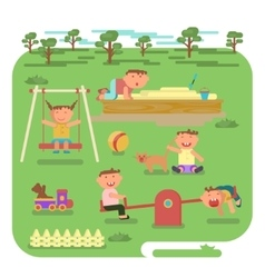 children play on the outdoors vector image