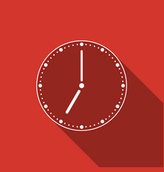 Clock icon with long shadow vector