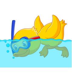 duck snorkeling cartoon vector image vector image