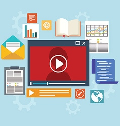 E-learning concept in flat style - digital content vector
