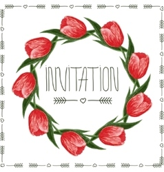 floral design of card with tulips vector image