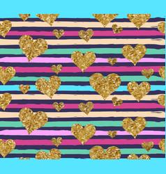 Gold glittering heart confetti seamless pattern vector