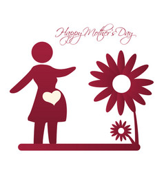 happy mothers day card silhouette mom pregnancy vector image