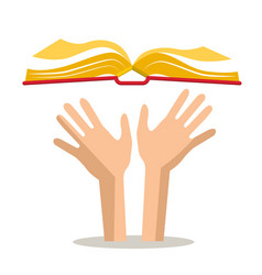 human hands with open book vector image vector image