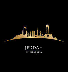Jeddah saudi arabia city skyline silhouette black vector