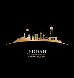 jeddah saudi arabia city skyline silhouette black vector image