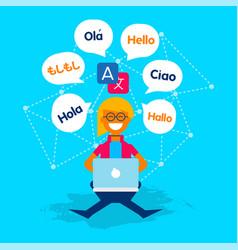 Language translator girl using social media app vector