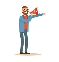 man with loudspeaker controls filming process vector image vector image
