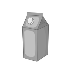 Milk box icon black monochrome style vector image