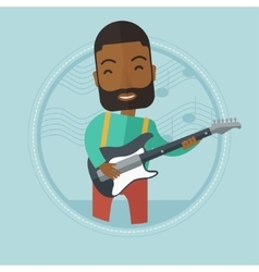 Musician playing electric guitar vector