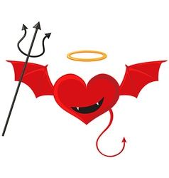 Red heart with devil wings vector image